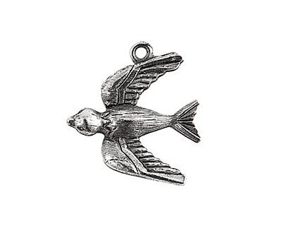 Nunn Design Antique Silver (plated) Bird Charm 20x22mm