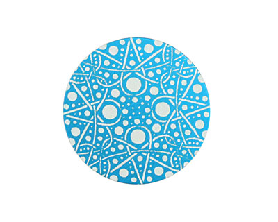 Lillypilly Turquoise Geometrics Anodized Aluminum Disc 25mm, 24 gauge