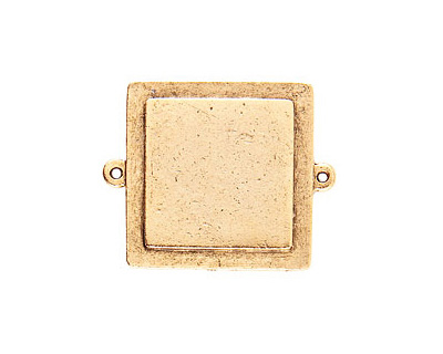 Nunn Design Antique Gold (plated) Raised Tag Small Square Connector 38x30mm