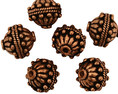 Antique Copper Fluted Round with Dots and Roping 13mm
