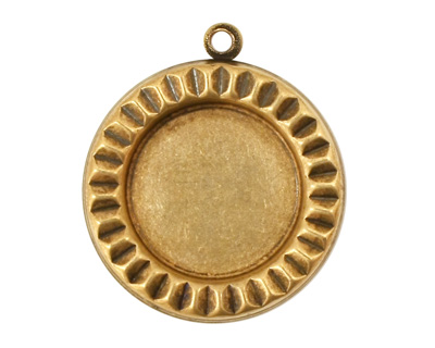 Stampt Antique Brass Sunburst Round Setting 18mm