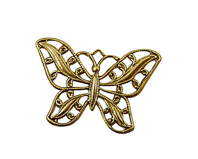 Stampt Antique Gold (plated) Filigree Butterfly 30x22mm