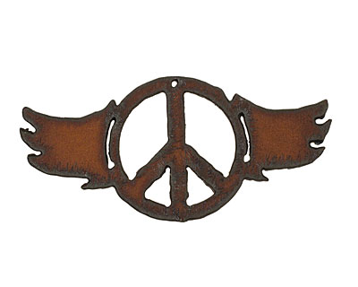 The Lipstick Ranch Rusted Iron Peace w/ Wings Pendant 82x42mm