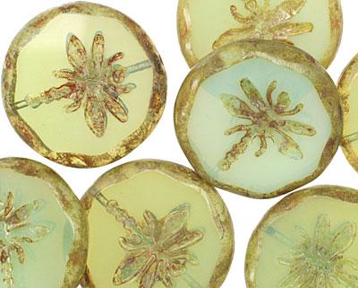 Czech Glass Green Tea Dragonfly Coin w/ Scalloped Edge 22mm
