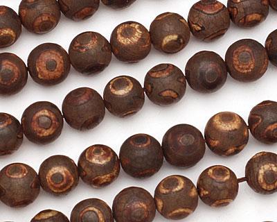 Brown Circle Agate Round 12mm
