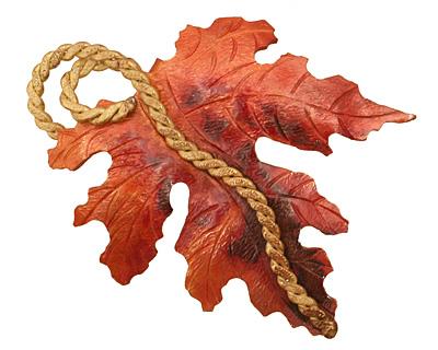 Patricia Healey Copper Leaf w/ Vine Pendant 50x68mm