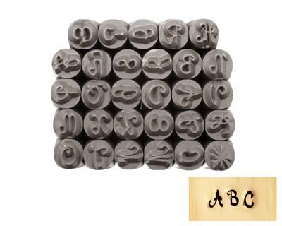 Tranquil Script Uppercase Letters Metal Stamp Set 4mm