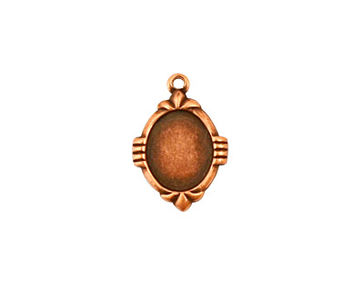 Stampt Antique Copper (plated) Deco Oval Setting 8x10mm