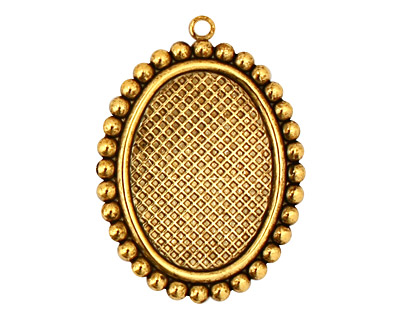 Stampt Antique Gold (plated) Dotted Fringe Oval Setting 18x25mm