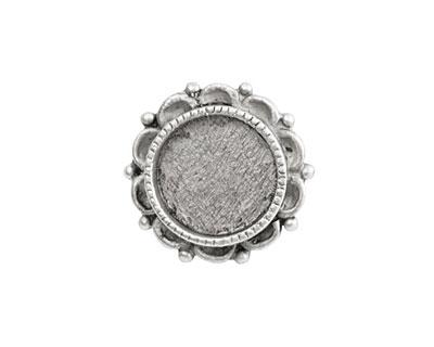 Nunn Design Antique Silver (plated) Mini Ornate Circle Screw Back Bezel 20mm