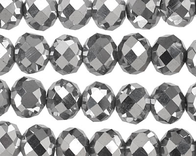 Metallic Silver Crystal Faceted Rondelle 10mm
