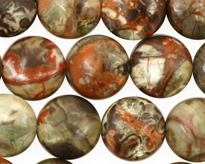 Red Forest Agate Puff Coin 14mm