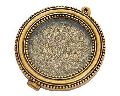 Nunn Design Antique Gold (plated) Large Beaded Locket 44mm
