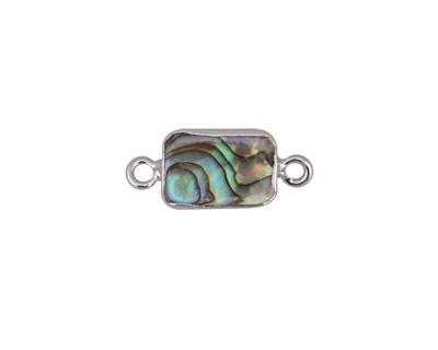 Abalone Rectangle Focal Link w/ Silver Finish 20x8mm