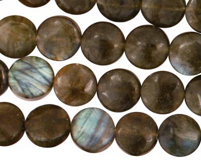 Labradorite Puff Coin 10mm
