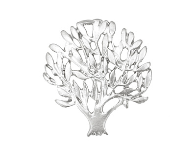 Ezel Findings Rhodium (plated) Summer Tree Pendant 25x27mm