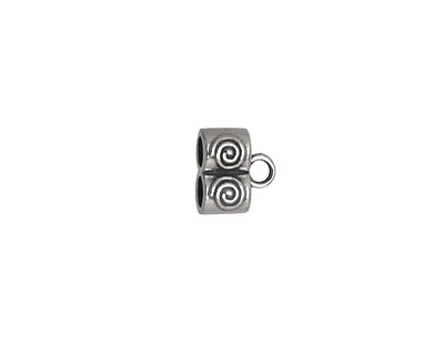 Sterling Silver Spiral Double Cord End 8x9mm