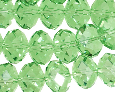 Peridot Crystal Faceted Rondelle 14mm