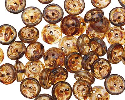 Czech Glass Transparent Amber 2-Hole Piggy Bead 8mm