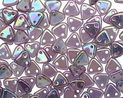 CzechMates Glass Tanzanite Purple Iris 2-Hole Triangle 6mm