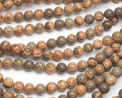 African Brown Rhyolite Round 8mm