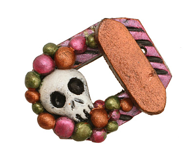 Poison Tree Polymer Clay Pink Skull Toggle Clasp 27x22mm, 21mm bar