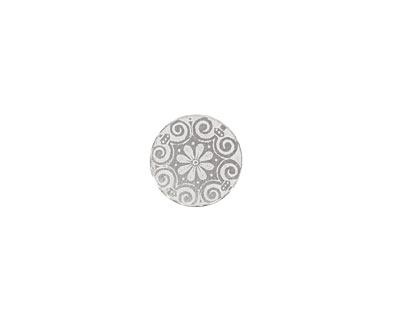 Lillypilly Silver Scrolling Daisy Anodized Aluminum Disc 11mm, 22 gauge