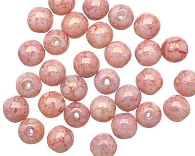 Czech Glass Luster Strawberries & Cream Round Druk 6mm