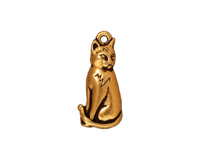 TierraCast Antique Gold (plated) Sitting Cat Charm 10x22mm
