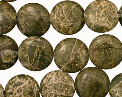 African Green Jasper Puff Coin 14mm