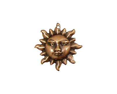 Stampt Antique Copper (plated) Sun Face Charm 20mm