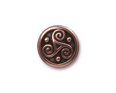 TierraCast Antique Copper (plated) Triskele Button 16mm