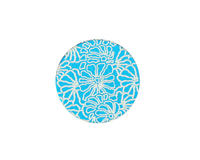 Lillypilly Turquoise Weathered Daisy Anodized Aluminum Disc 19mm, 24 gauge