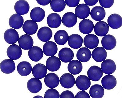 Czech Glass Matte Cobalt Round 6mm