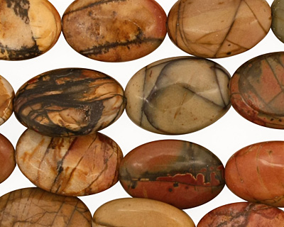 Red Creek Jasper Flat Oval 14x10mm