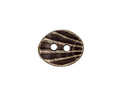 TierraCast Antique Brass (plated) Oval Shell Button 17x14mm