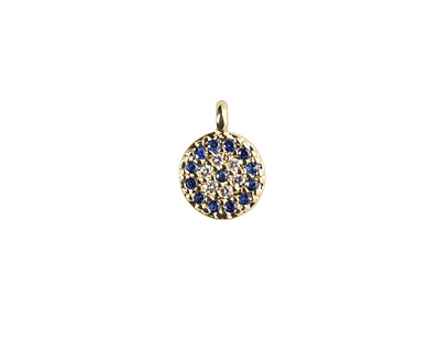 Sky Mix Pave CZ Gold (plated) Stainless Steel Coin Charm 6.5x9mm
