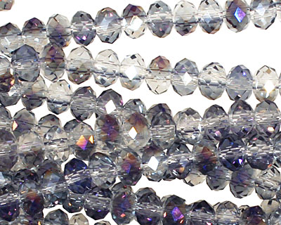 Purple & Clear AB Crystal Faceted Rondelle 6mm