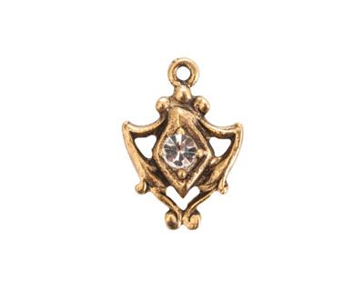 Nunn Design Antique Gold (plated) Medallion Crystal Charm 15x20mm