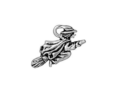 TierraCast Antique Silver (plated) Witch Charm 23x14mm