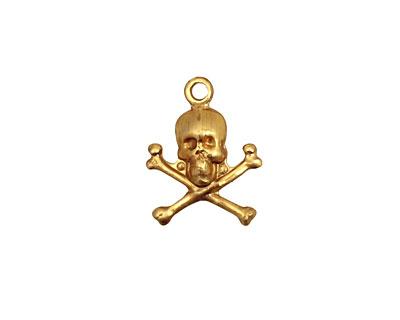 Brass Skull & Crossbones Charm 13x17mm