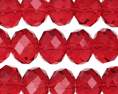 Garnet Crystal Faceted Rondelle 14mm