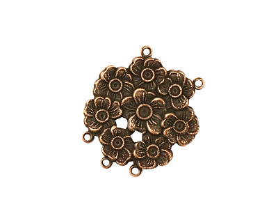 Stampt Antique Copper (plated) Floral Wreath 2 and 3 Ring Connector 22x19mm