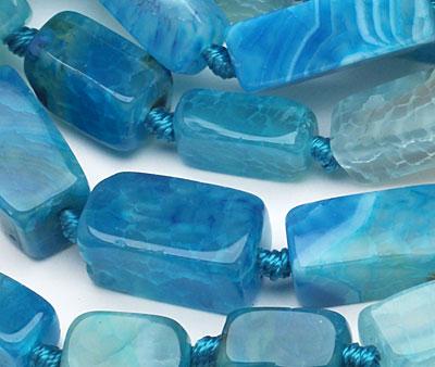 Sky Blue Line Agate Brick 16-26x9-10mm