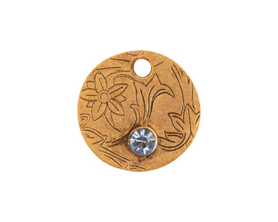 Nunn Design Antique Gold (plated) Decorative Small Circle Tag w/ Light Sapphire Crystal 20mm