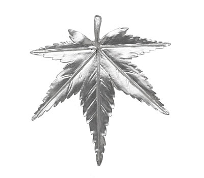 Ezel Findings Rhodium (plated) Maple Leaf Pendant 50x54mm
