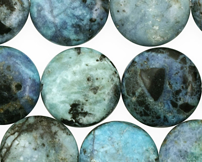 Blue Opal Puff Coin 16mm