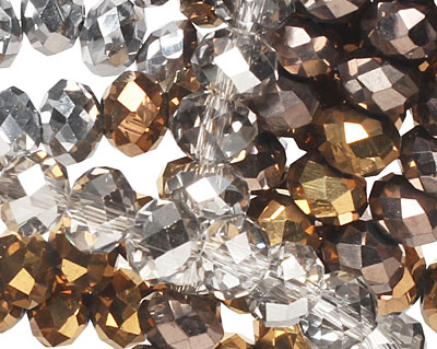 Metallics Crystal Mix Faceted Rondelle 6mm