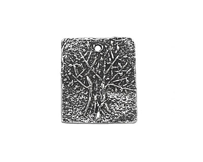 Rustic Charms Sterling Silver Rectangle Tree Charm 17x20mm