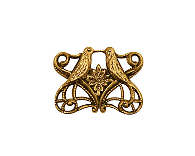 Stampt Antique Gold (plated) Kissing Birds Connector 21x16mm